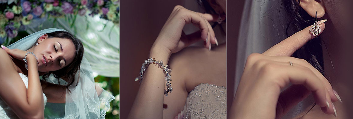 Нежные серьги и браслет в классическом стиле. Свадебный комплект украшений