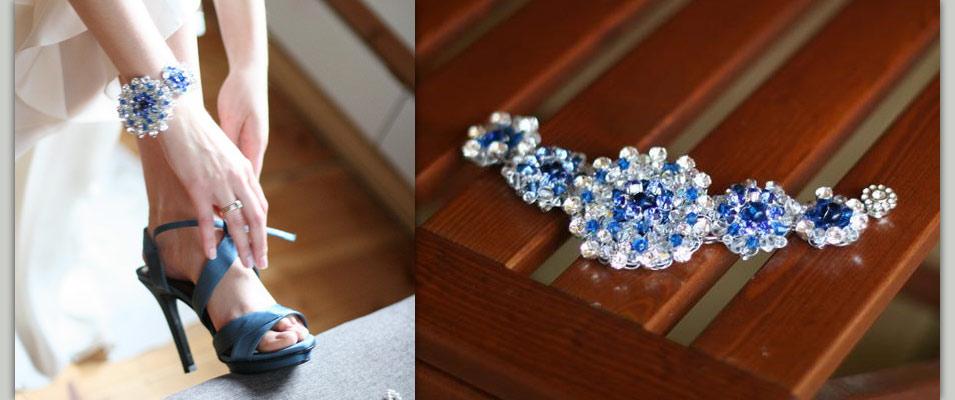 Сине-белый браслет для невесты