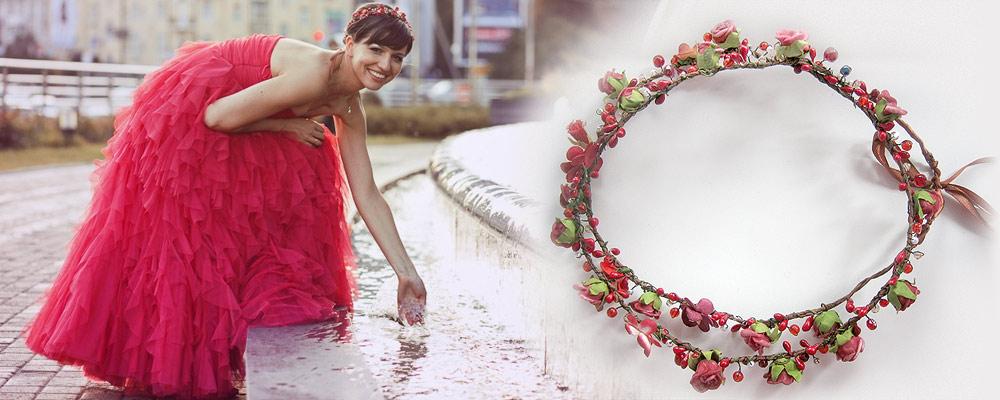 Венок в красных тонах для невесты. Ярослава Косенко. Свадебные украшения для волос