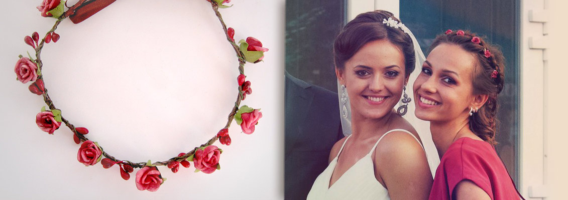 Венок «Осенний» на подруге невесты. Ярослава Косенко. Свадебные украшения